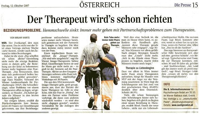 IMAGO Therapie, Presse